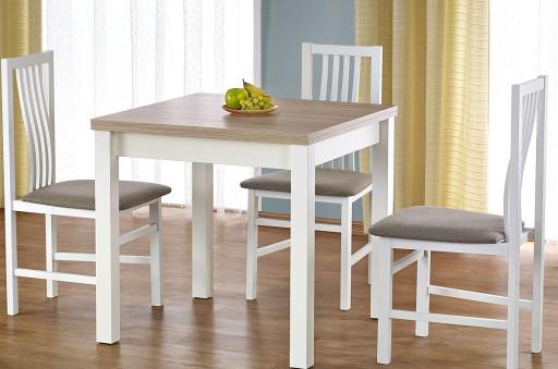Stół Kwadratowy 80x80 Rozkładany Biały Dab Sonoma 6711884796