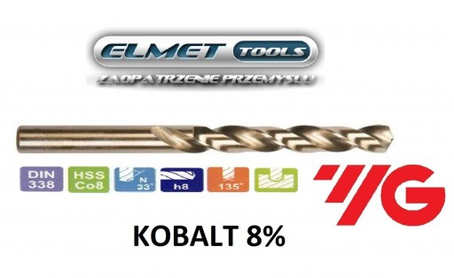 Wiertło FI 12,5 HSSCo8 KOBALT 8% DIN338 YG-1