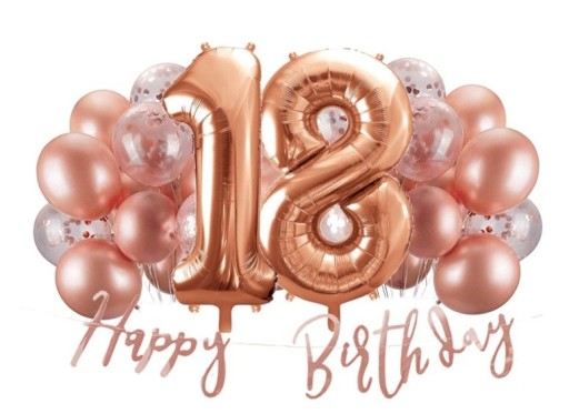 Dekoracje Na 18 Urodziny Balony Rose Gold 7881760484 Allegro Pl