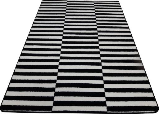 W superbly Dywan czarno biały 160x220 w PASY PASKI ZEBRA mono 7169683017 KO46