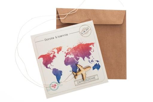 Podróżnicze Zaproszenia ślubne Travel2 Z34 5968094915 Allegropl