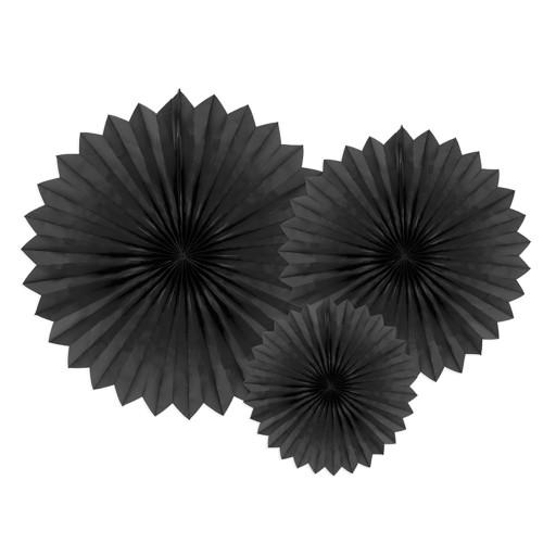Rozety Dekoracyjne Wachlarze Czarne 3 Szt