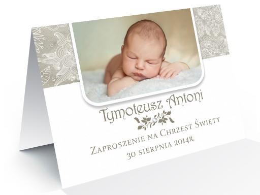Foto Zaproszenia Na Chrzest Ze Zdjeciem Z Cyrkonia 6409075682 Allegro Pl