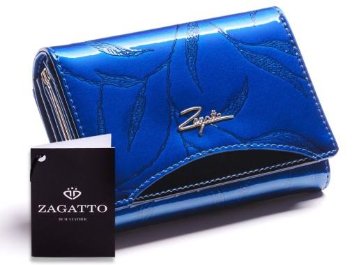 2d57a2c72cc58 Mały portfel damski skórzany Zagatto RFID tłoczony 7633287997 ...