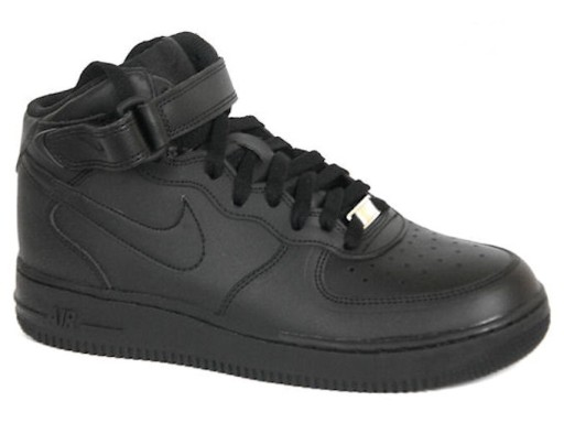 Buty za kostkę NIKE AIR FORCE MID PS skórzane, czarne