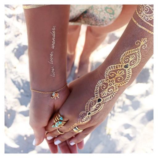 Złote Tatuaże Flash Tatoo Metaliczne Gold Hit New