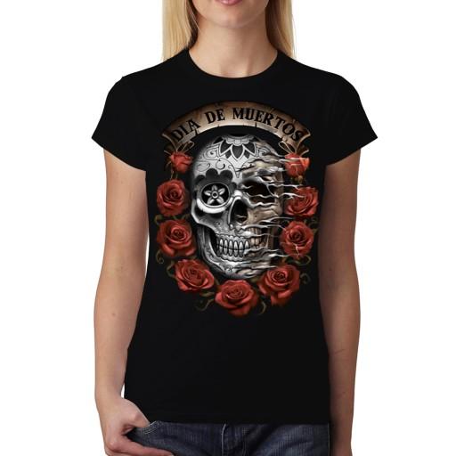Czerwone Róże Czaszka Koszulka Damska Czerń M