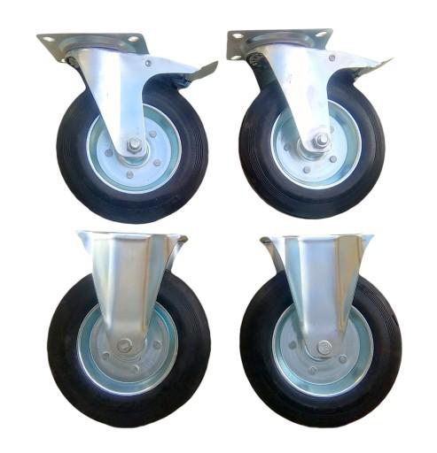 Zestaw 4 szt koło kółko koła  200 mm stałe hamulec