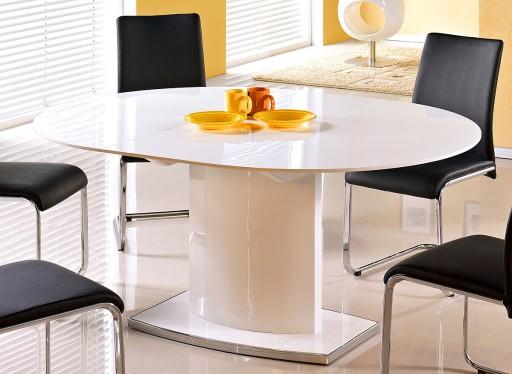 Stół Okrągły Rozkładany 160 Cm Biały Połysk Owalny 5976392374