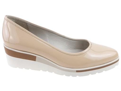 2aafac77 RYŁKO buty koturny 4F200BZ beż lakier 37.5 6001855410 - Allegro.pl