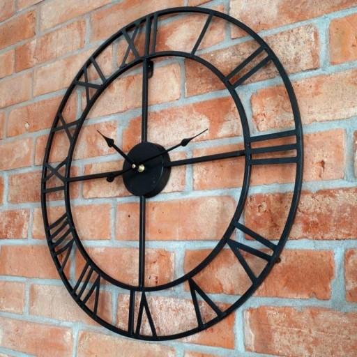 Zegar ścienny retro metalowy LOFT czarny 58cm HIT