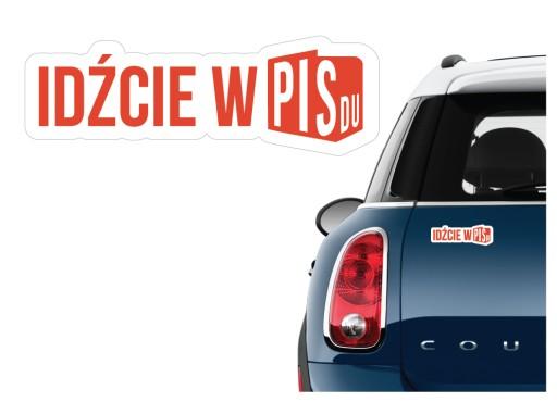 Naklejka na samochód anty PiS idźcie w PISdu PZPR