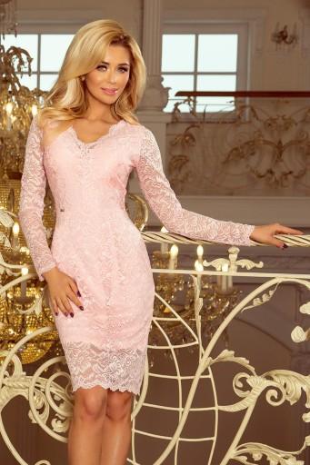 d9d13b2971 Sukienka koronkowa z długim rękawkiem RÓŻ M 7700056620 - Allegro.pl