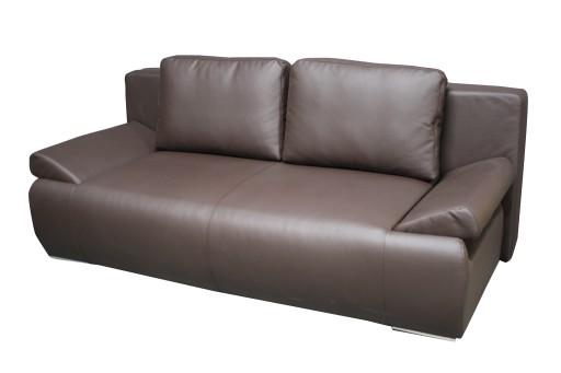 Sofa Rozkładana 160x210 Skóra Brązowa Brąz Kanapa