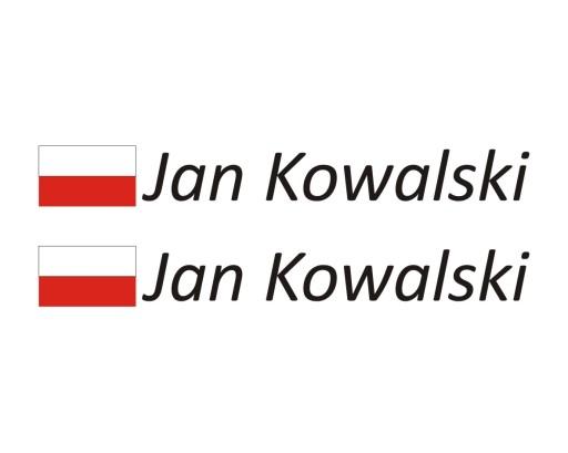 Ogromny Naklejka na rower Flaga Imię Nazwisko Flaga Polski 6808061575 EY03