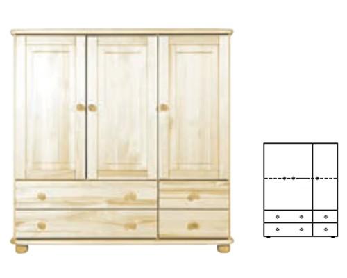 Komoda 124x124x42 4 szuflady 3 drzwi W48 sosna