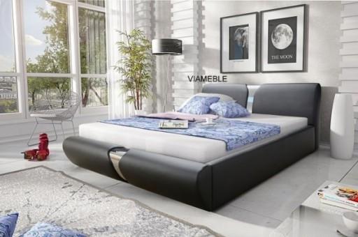 łóżko Tapicerowane Z Pojemnikiem Materacem 140x200 6966340782