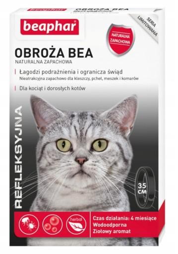 BEAPHAR obroża pchły kleszcze kot ODBLASKOWA