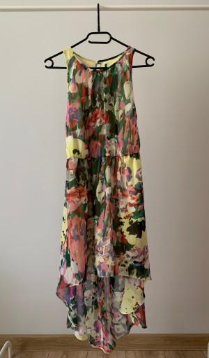Szyfonowa asymetryczna kolorowa sukienka XS 34