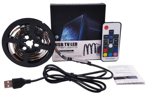 TAŚMA LED RGB USB PILOT PODŚWIETLENIE TV LUSTRA