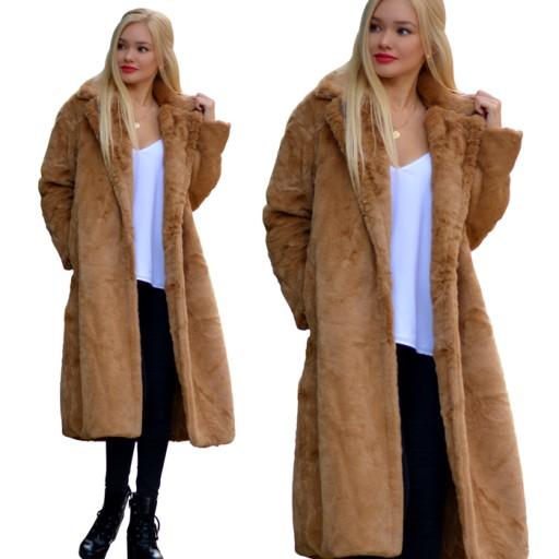 Długie futro futerko płaszcz kurtka miś