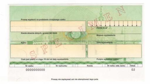 czek specimen Gospodarczy Bank Wielkopolski GBW6