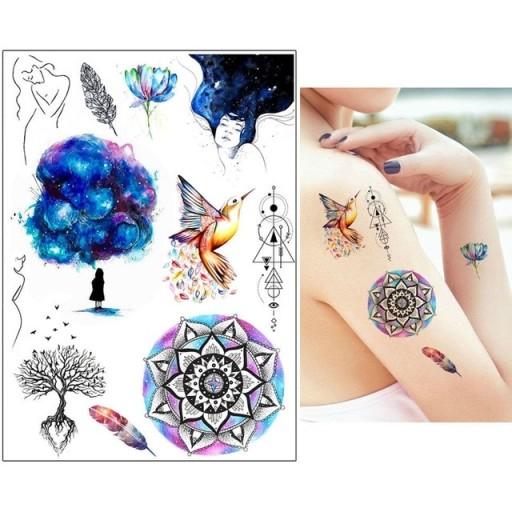 P26 Tatuaż Zmywalny Tymczasowy Koliber Kobieta