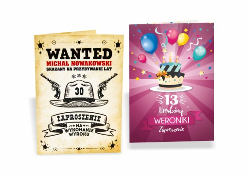 Zaproszenia Na Urodziny 10 15 18 30 40 50 Koperta 7000928211