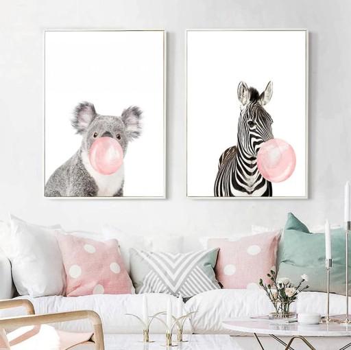 Plakaty Dla Dzieci Zwierzęta Guma Do żucia Balon