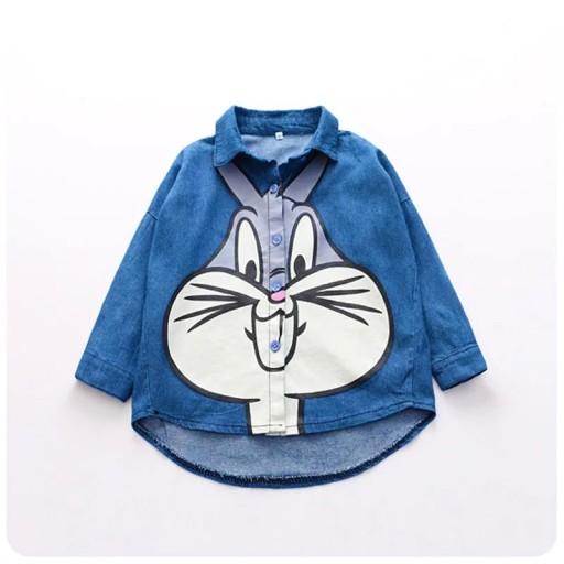 Jeansowa koszula 104 asymetryczna królik Bugs