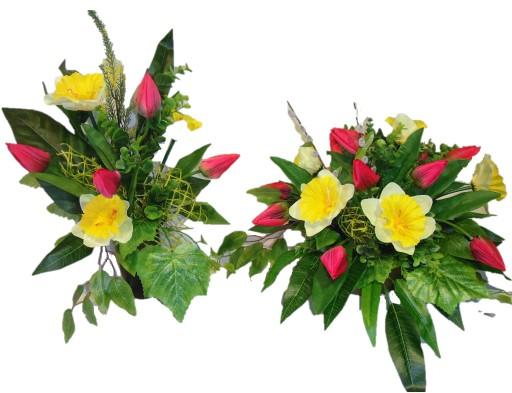 STROIK na grób + BUKIET kwiaty kompozycja cmentarz
