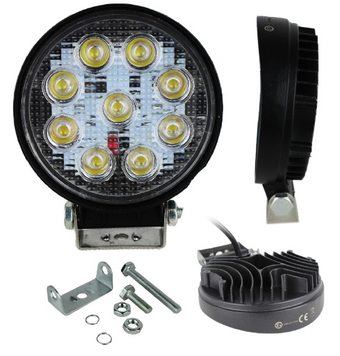 ZIBINTAS (LEMPOS-FAROS) LED VEIKIANTIS 9 LED HALOGENAS 27W 2012M-24V CE R10