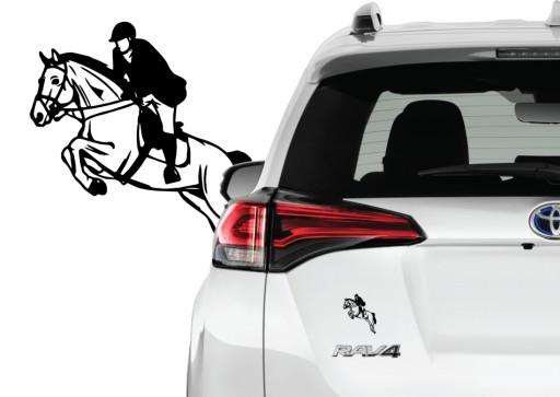 Naklejka na samochód koń, jeździec, arabski, skoki