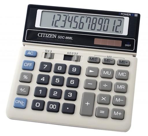 Kalkulator biurowy CITIZEN SDC-868L, 12-cyfrowy