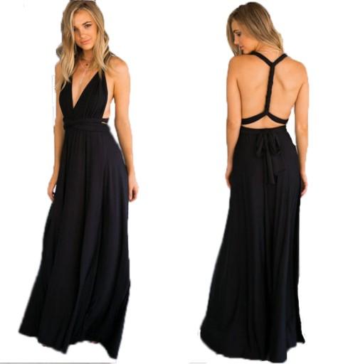21970a7341 Sukienka WESELE BAL RÓŻNE WIĄZANIA MAXI DŁUGA M 7281548379 - Allegro.pl