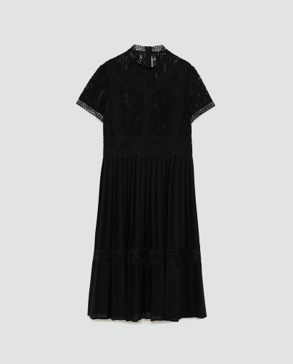 99d5c4288e Zara sukienka z koronkowymi wstawkami 40 L 7546839403 - Allegro.pl