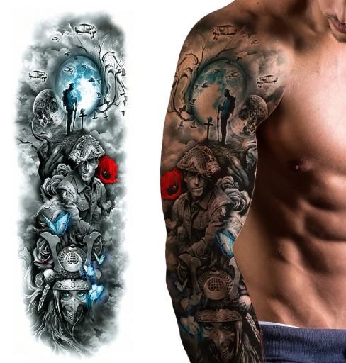 Tatuaż Zmywalny Tymczasowy Wodny Rękaw Wojna Kwiat