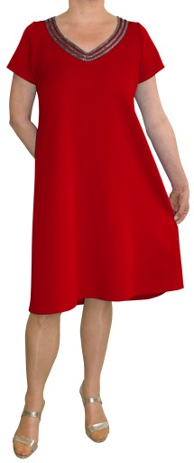 Sukienka trapez elegancka czerwona 50 na wymiar