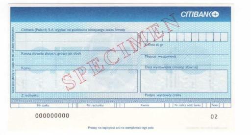 czek specimen Citibank (Poland) SA
