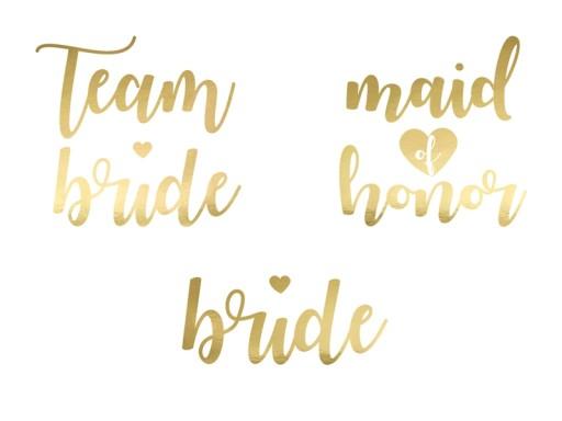 Tatuaże Team Bride Wieczór Panieński Złote 13szt