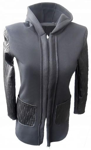 skórzana kurtka z dresowym kapturem