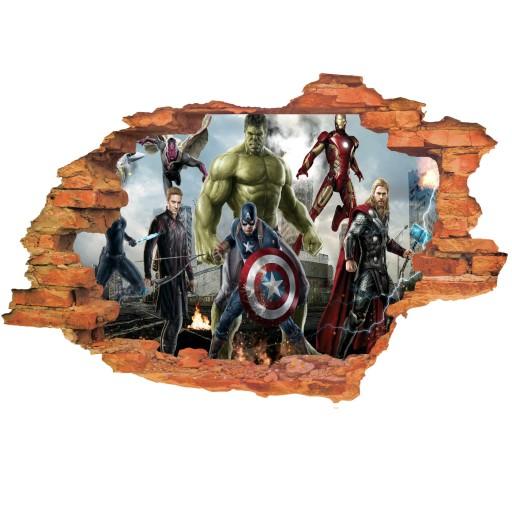 Naklejki Na Sciane 3d Avengers Dla Dzieci Dziura 8682149736 Allegro Pl