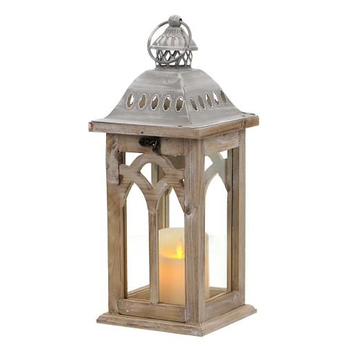 Lampion latarnia drewniana brązowa do domu ogrodu