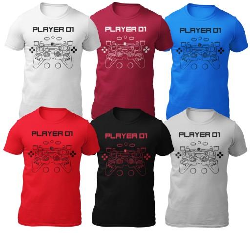 Koszulka PREZENT DLA GRACZA PLAYER 6 kolorÓw M 8523897027 Odzież Męska T-shirty PQ LKKKPQ-4
