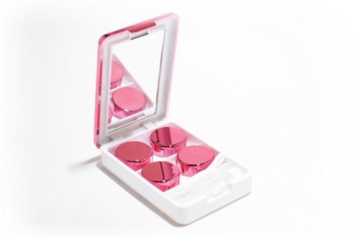 Pojemnik zestaw na soczewki i płyn lusterko różowy