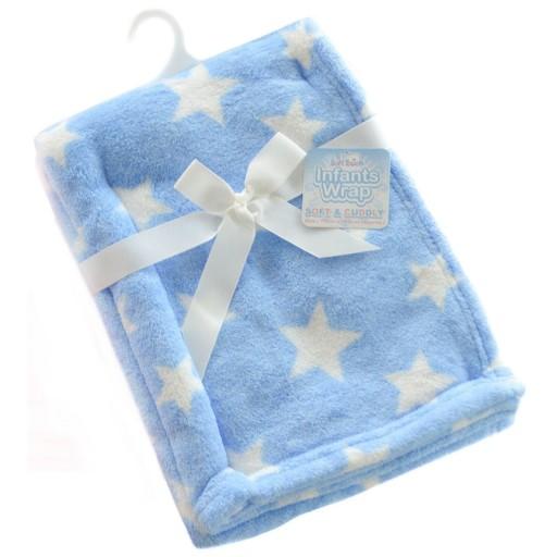 KOCYK NIEMOWLĘCY Polarowy 75x100 Błękit w gwiazdy