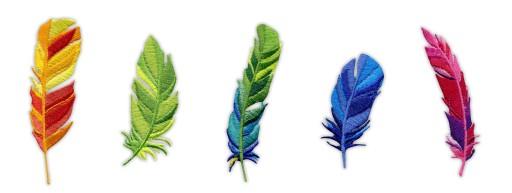 Naszywka - Komplet kolorowych piórek - pióra, HAFT