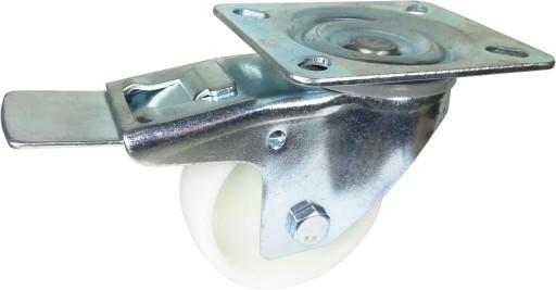 Zestaw kołowy skrętny z hamulcem polipropylen 80mm