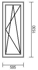 OKNO PCV 585 x 1530 URP, 3 SZYBY - WYPRZEDAŻ