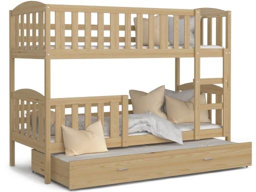 Łóżko piętrowe KUBUŚ 3 osobowe wysuwane drewniane